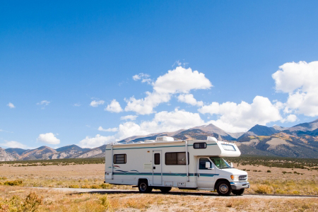 motor home near the great sand dunes, colorado.
